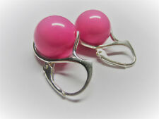 Handmade Pink stone Beads and Silver Beads 925 SILVER EARRINGS