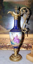 RARE ROYAL VIENNA BRONZE MOUNTED COBALT BLUE WITH JEWELS NEOCLASSICAL SCENE URN