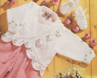 """Sweet Cross Over Leaf Edge Baby Matinee Coat with Embroidery 16"""" - 22"""" To Knit"""