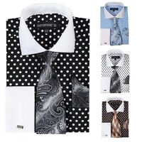 Men's 100% Cotton Polka Dot Dress Shirts Spread Collar French Cuffs MS613