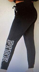Victoria Secret PINK LIGHTWEIGHT skinny JOGGER Pant Black/Logo Size JR L NWT