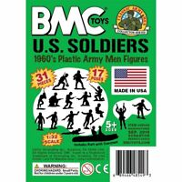 BMC Marx US Soldiers Plastic Army Men - Green 31pc WW2 Figures Made in the USA