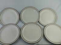 "Buffalo China Vintage Lot Of 6 Dinner Plates 9.5"" Double Maroon Brown Stripes..."