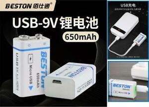 9V Rechargeable Lithium ion Battery 650mAh Micro USB Charging Port (BESTON9V)