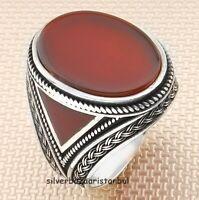 Fresh Handmade Red Agate Aqeeq Stone 925 Sterling Silver Turkish Mens Ring Usa