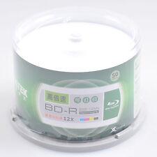 50pcs Blu-ray BD-R 25GB 130min 12X Blank Record Disc Inkjet White Printable Pack