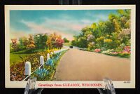 Postcard Greetings From GLEASON WISCONSIN Linen