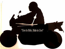 MOTOR BIKE SILHOUETTE WALL CLOCK PERSONALISED WITH ANY MESSAGE
