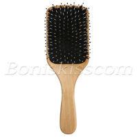 Pro Natural Boar Bristle Comb Wooden Detangling Cushion Hair Brush Scalp Massage