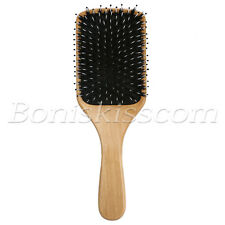 Pro Natural Boar Bristle Comb Wooden Detangling Cushion Hair Brush Scalp Massage