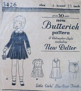 Vtg Antique 1920s Butterick 3426 Flared Skirt Frock Dress SEWING PATTERN Girl 4