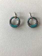 BARBARA BIXBY 925 SS 18k YG Turquoise & White Topaz Circle Earrings