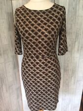 Smashed Lemon Brown & White Diamond Pattern Stretch Dress Sz12/40