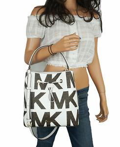 Michael Kors Suri LG Graphic Logo Bucket Drawstring Crossbody Bag MK White Brown