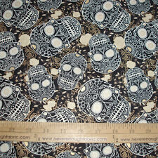 Cotton Fabric Sugar Skulls & Roses black white & metallic Gold on Black BTY