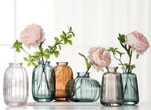 Mini Glass Vases Pink Blue Brown Striped Pink  Flowers Vases Glass  Vases 1 PC