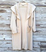Womens Vintage Sweater Coat Ladies Long Duster Style Beaded Pockets Tan One Size