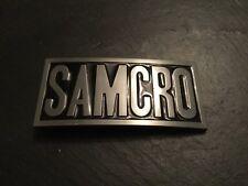 SAMCRO New BELT BUCKLE Embossed Pewter Metal Samcro Sons of Anarchy SOA
