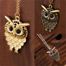 Retro stylish Sweater Jewelry Cute Vintage Owl Pendant Long Chain Necklace Gift
