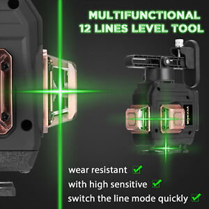 Rotary Laser Level Green 12 Lines 3D Cross Line Self Leveling Measure Tool