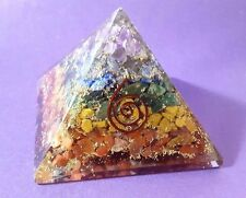 REIKI CHARGED LARGE 7 CHAKRA ORGONE CRYSTAL PYRAMID POWERFUL ENERGY GENERATOR