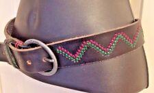 Black Leather Emboidered Nixon Brand Women's Belt S