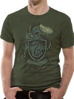 Harry Potter Slytherin Crest Distressed Hogwarts Logo Green Mens T-shirt