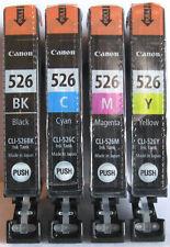 Canon Genuine CLI-526Bk CLI-526C CLI-526M CLI-526Y Set. New / Sealed.