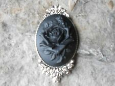 GORGEOUS ROSE CAMEO BROOCH- PIN- (BLACK), FLORAL, ROSE BUD, MOURNING, GOTH, PUNK