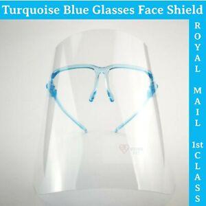 Face Shield Visor Glasses Blue AntiFog Full Face Coverage/Protection Mask PPE UK