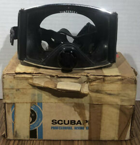 Vintage Scubapro Scuba Dive Mask TriView Goggles Tempered Glass