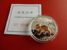 * China 10 Yuan 1998 PP Silber /Farbe * Tiger (Schub9)