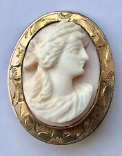 """in Gold Oval 1 1/4"""" Pin Antique High Relief Pink Shell Carved Cameo"""