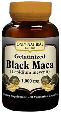 Only Natural Gelatinized Black Maca 1000 mg 60 Vegetarian Capsules