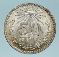 1944 MEXICO City EAGLE CACTUS SERPENT Silver 50 Centavos Mexican Coin i83608