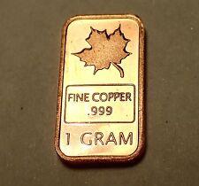 1 Gram 999 Fine Copper Bullion Bar in the Classic Maple Leaf Design