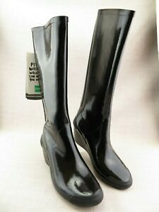 Cougar Epic Knee High Black Wedge Tall Rain Boots Womens 9 M Zip Green