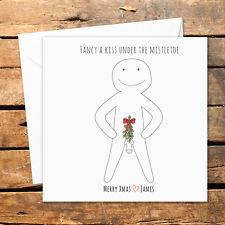 Personalised Handmade Christmas Card Kiss Under Mistletoe Dick Rude Adult Humour