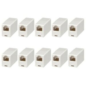 10x RJ12 Straight Telephone Phone Cord Cable Adapter Connector Inline Coupler