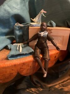 "Antique 1890 Jolly little sailor 6"" small doll restored,handcarved wooden limbs"