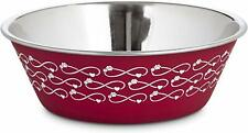 (1) HARMONY RED HEART INFINITY STAINLESS STEEL BOWL SMALL 16 OUNCE NO SKID DISH