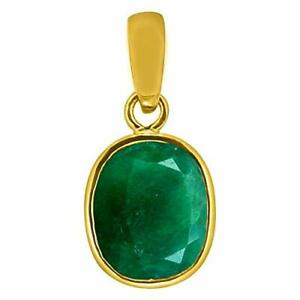 100% Natural Certified Emerald Penna 925 Sterling Silver Gold Plated Locket
