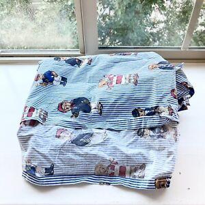 Vintage Ralph Lauren Polo Teddy Bear Queen Flat Sheet Blue 100% Cotton