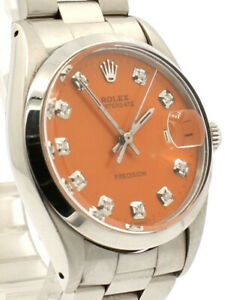 Mens ROLEX Oyster Date Precision 6694 Stainless Steel Orange Dial Diamond Watch