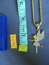 necklace, fairy & stones, gold coloured chain, in a box  [ 1434 ]