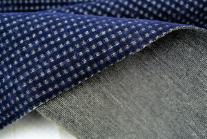 PONTE ROMA COTTON HEAVY JERSEY GREY&ROYAL BLUE FLOCK PRINTED MADE IN ITALY SD226