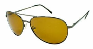 FLY-DEF High-Def Polarized Fishing sunglasses Gold Lens Metal Teardrop Aviator