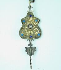 Miederstecker Silber Tracht , 19. Jh., Biedermeier, 15 x 4,7 cm Perle Türkise