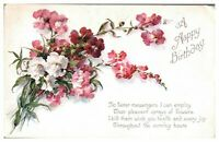 Antique colour printed postcard card Happy Birthday bunch of flowers