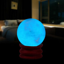 35MM Blue Luminous Quartz Crystal Sphere Ball Glow In The Dark Stone With Base P